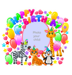 birthday frame for your baby photo vector image vector image