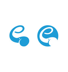 elephant logo showing letter e with the trunk vector image vector image