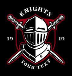 emblem of knight helmet with swords vector image vector image