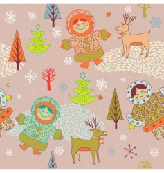 eskimo girls seamless pattern vector image vector image