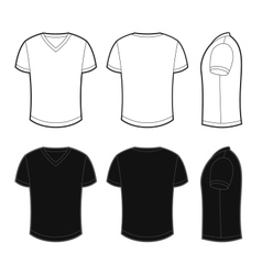 Front back and side views of blank t-shirt vector image vector image