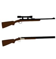 Hunting rifle and shotgun vector image