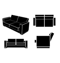 Modern Sofa Couch Different Views vector image