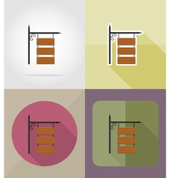 Wooden board flat icons 11 vector
