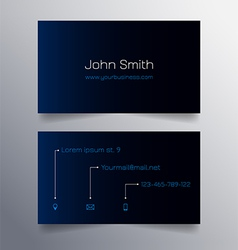 Business card template - blue and black design vector image vector image