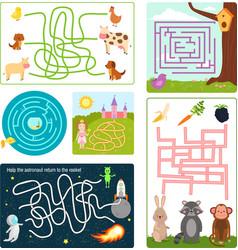 labyrinth maze conundrum shape rebus logic game vector image