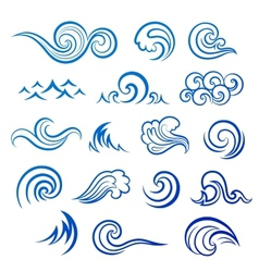 Set of isolated wave icons vector image