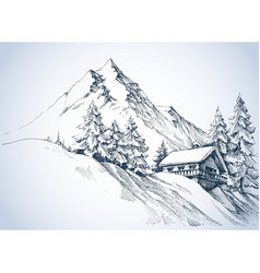 Winter landscape in the mountains and cabin vector