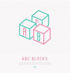 abc blocks thin line icon vector image