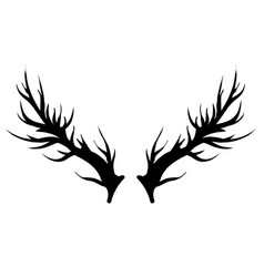 deer horns silhouette isolated vector image