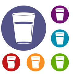 glass water icons set vector image
