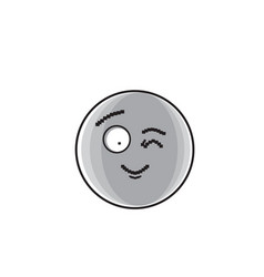 smiling cartoon face winking positive people vector image