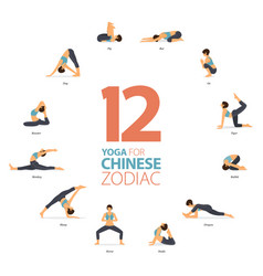 12 yoga poses workout in chinese zodiac concept vector