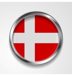 Abstract button with metallic frame Danish flag vector