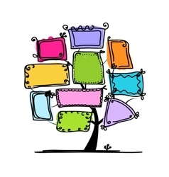 Art tree with frames for your design vector image