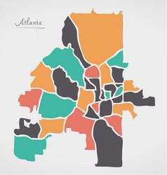 Atlanta georgia map with neighborhoods and modern vector