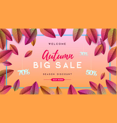 autumn big sale typography poster with autumn vector image
