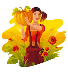 autumn thanksgiving landscape background young vector image