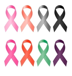 Awareness ribbon set of colorful ribbons on a vector