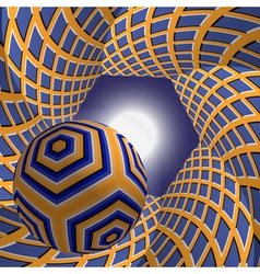 Ball flying to the sun through a hexagonal tunnel vector
