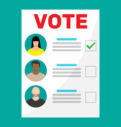 Ballot paper with candidates vector