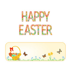 Banner happy easter basket with easter eggs vector