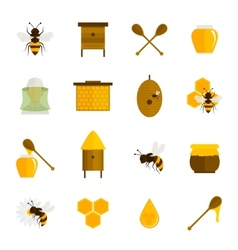 Bee honey icons flat set vector image