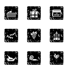 Birthday party icons set grunge style vector