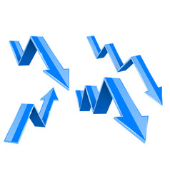 blue 3d up and down arrows financial graph vector image
