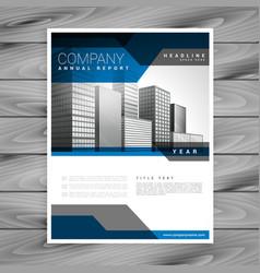 Blue company brochure design template vector