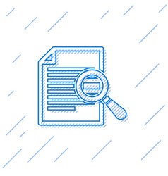 Blue document with search line icon isolated on vector