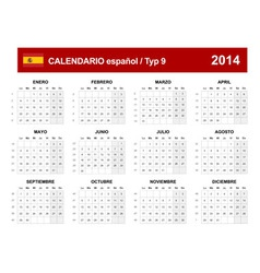 Calendar 2014 Spain Type 9 vector image