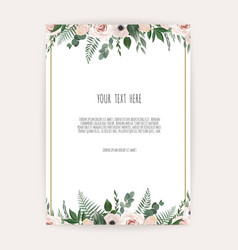 card with flower rose leaves wedding ornament vector image
