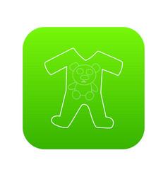 Children romper suit icon green vector