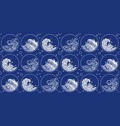 chinese wave pattern oriental style round shape vector image