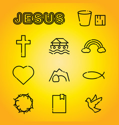 Christian faith religion icons vector