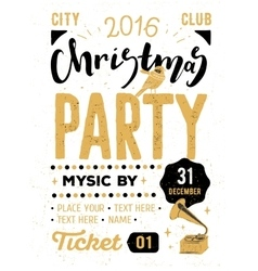 Christmas party retro typography poster vector
