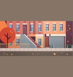 City building houses facade view autumn street vector