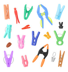 Clothespin clothespeg and office clamp clip vector