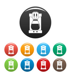 Coffee machine icons set color vector