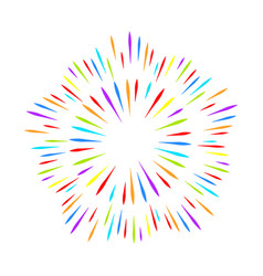 colorful fireworks on white isolated background vector image