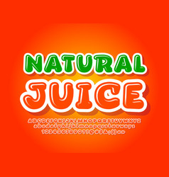colorful logo natural juice bright font vector image