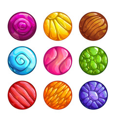 Colorful round jelly icons slimy assets for game vector