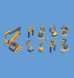 crane machines colorful isometric vector image