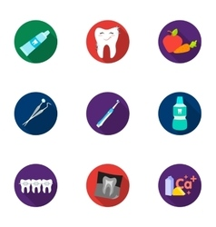 Dental care set icons in flat style Big vector
