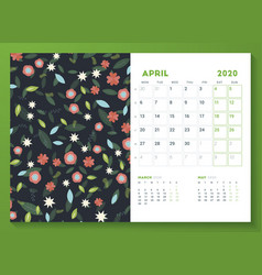 Desk calendar template for april 2020 week starts vector