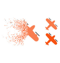 Dissolving pixelated halftone screw aeroplane icon vector
