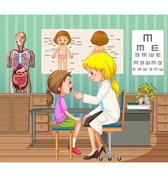 Doctor giving treatment to little girl in clinic vector