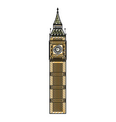 Doodle big ben tower history architecture vector