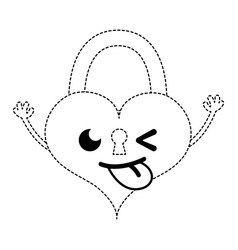 Dotted shape funny heart padlock kawaii personage vector